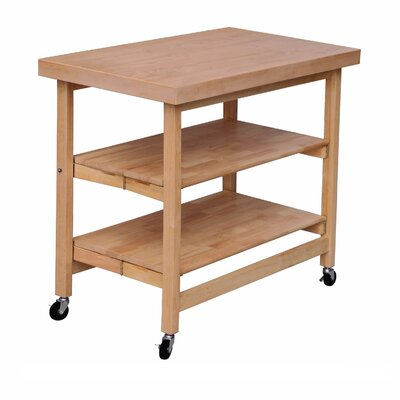 Folding Kitchen Island with Wood Top Finish: Sand