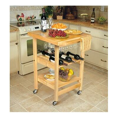 Entertainer Folding Kitchen Cart With Wine Storage image
