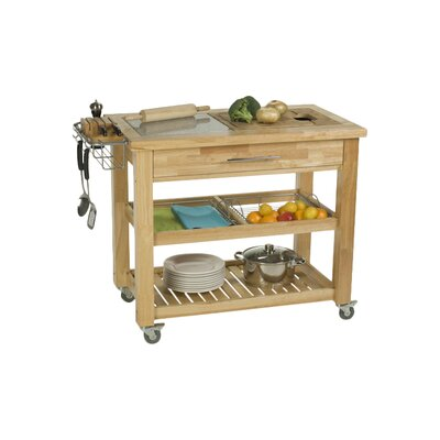 Pro Chef Kitchen Island with Granite and Wood Top Base Finish: Natural Lacquer