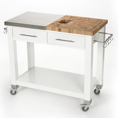 Pro Chef Kitchen Island with Butcher Block Top Base Finish: White