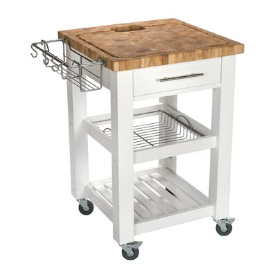 Pro Chef Kitchen Cart with Butcher Block Top