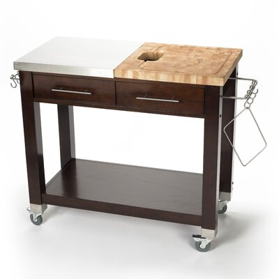 Pro Chef Kitchen Island with Butcher Block Top Base Finish: Brown