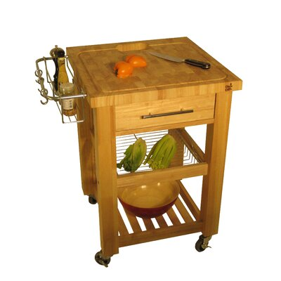 Cheap Chris & Chris Pro Chef Kitchen Work Station with Wood Legs and Wood Top Color: Natural Lacquer (OP1014_6999851)