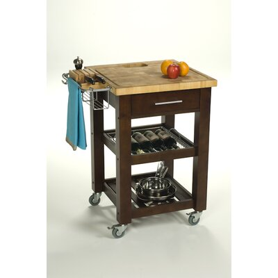 Cheap Chris & Chris Pro Chef Kitchen Work Station with Wood Legs and Wood Top Color: Espresso (OP1014_6999850)