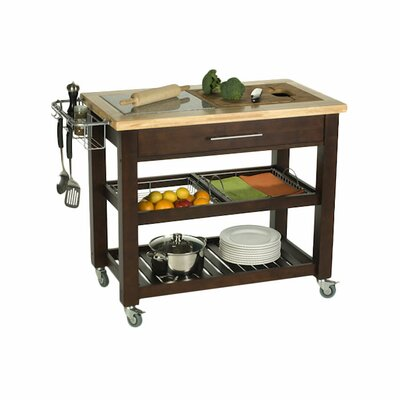 Pro Chef Kitchen Island with Granite and Wood Top Base Finish: Espresso
