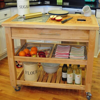 Chris Chris Pro Chef Kitchen Cart With Granite Top Base Finish Natural Lacquer Kitchen Island
