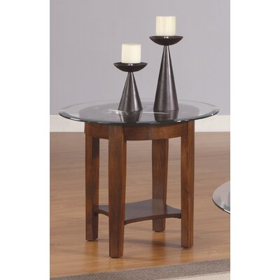 Cheap Anthony California Round End Table in Brown Cherry with Glass Inlay (ANY1419)
