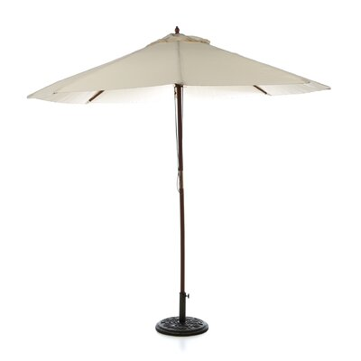 Market Umbrella Fabric: Natural, Opening Mechanism: Dual Pulley and Skylight, Pole Material: Teak Hard Wood