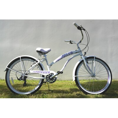 "GreenLine Bicycles Ladies 26"" 7-Speed Shimano Premium Extended Deluxe Beach Cruiser - Frame Color: Pearl White with Purple Wheels at Sears.com"