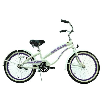 "GreenLine Bicycles Ladies 20"" Single Speed Beach Cruiser Bike - Frame Color: Pearl White with Purple at Sears.com"
