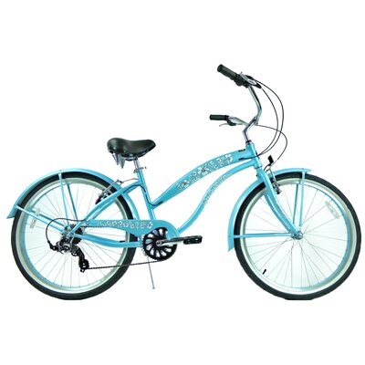 "GreenLine Bicycles Ladies 26"" 7-Speed Shimano Premium Extended Deluxe Beach Cruiser - Frame Color: Baby Blue at Sears.com"
