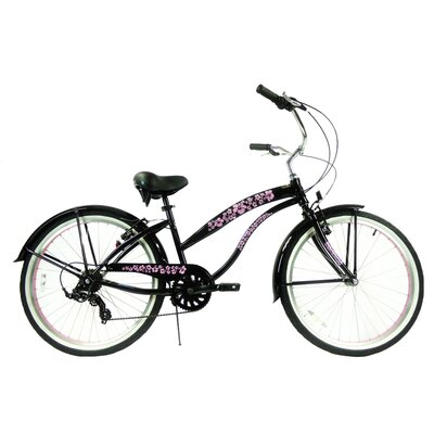 "GreenLine Bicycles Ladies 26"" 7-Speed Shimano Premium Extended Deluxe Beach Cruiser - Frame Color: Black with Pink Wheels at Sears.com"