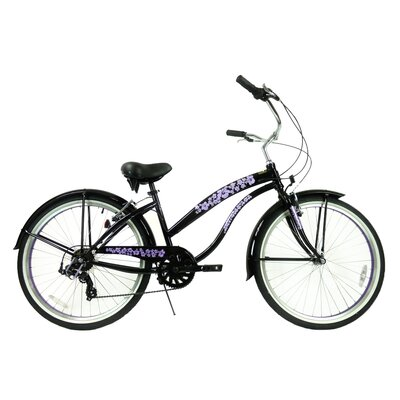 "GreenLine Bicycles Ladies 26"" 7-Speed Shimano Premium Extended Deluxe Beach Cruiser - Frame Color: Flat Black with Purple Wheels at Sears.com"