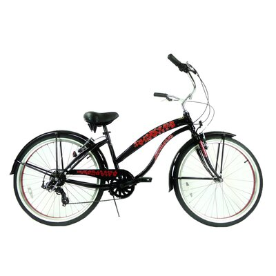 "GreenLine Bicycles Ladies 26"" 7-Speed Shimano Premium Extended Deluxe Beach Cruiser - Frame Color: Black with Red at Sears.com"