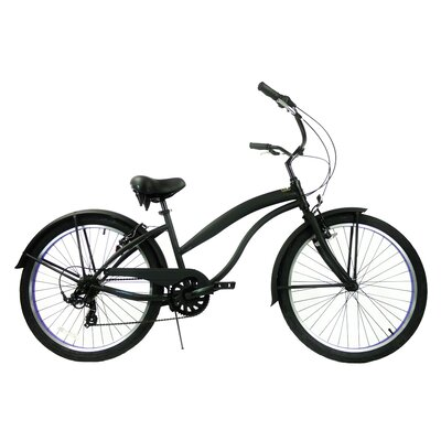"GreenLine Bicycles Ladies 26"" 7-Speed Shimano Premium Extended Deluxe Beach Cruiser - Frame Color: Black with Purple at Sears.com"