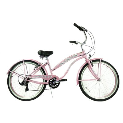 "GreenLine Bicycles Ladies 26"" 7-Speed Shimano Premium Extended Deluxe Beach Cruiser - Frame Color: Pink at Sears.com"