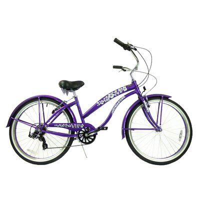 "GreenLine Bicycles Ladies 26"" 7-Speed Shimano Premium Extended Deluxe Beach Cruiser - Frame Color: Purple at Sears.com"