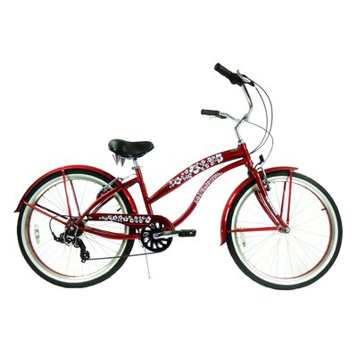 "GreenLine Bicycles Ladies 26"" 7-Speed Shimano Premium Extended Deluxe Beach Cruiser - Frame Color: Red at Sears.com"