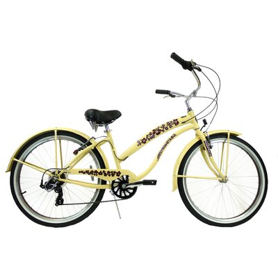 "GreenLine Bicycles Ladies 26"" 7-Speed Shimano Premium Extended Deluxe Beach Cruiser - Frame Color: Vanilla with Light Brown at Sears.com"