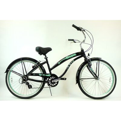 "GreenLine Bicycles Ladies 26"" Aluminum 7-Speed Shimano Premium Extended Deluxe Beach Cruiser - Frame Color: Black with Mint Green Wheels at Sears.com"