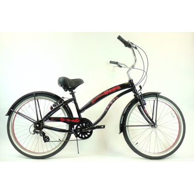 "GreenLine Bicycles Ladies 26"" Aluminum 7-Speed Shimano Premium Extended Deluxe Beach Cruiser - Frame Color: Black with Red at Sears.com"