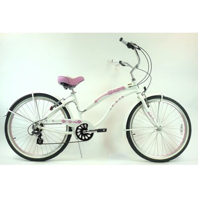 "GreenLine Bicycles Ladies 26"" Aluminum 7-Speed Shimano Premium Extended Deluxe Beach Cruiser - Frame Color: Pearl White with Pink Wheels at Sears.com"