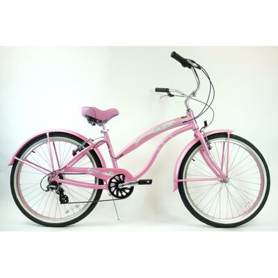"GreenLine Bicycles Ladies 26"" Aluminum 7-Speed Shimano Premium Extended Deluxe Beach Cruiser - Frame Color: Pink at Sears.com"