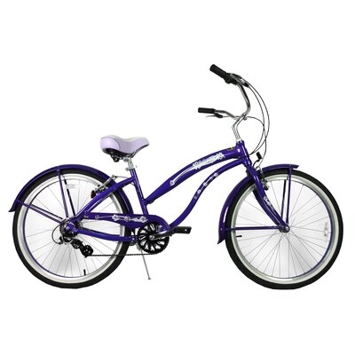 "GreenLine Bicycles Ladies 26"" Aluminum 7-Speed Shimano Premium Extended Deluxe Beach Cruiser - Frame Color: Purple at Sears.com"