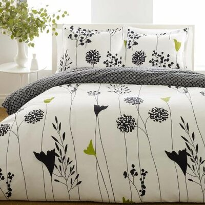 Asian Lily Reversible Duvet Cover Set Size: King
