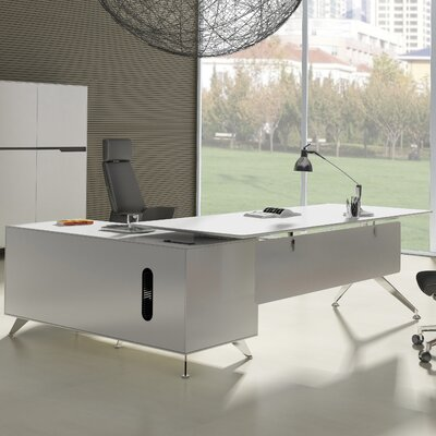 400 Collection Executive Desk with Return Cabinet Orientation: Right, Finish: Zebrano Wood Product Image 722