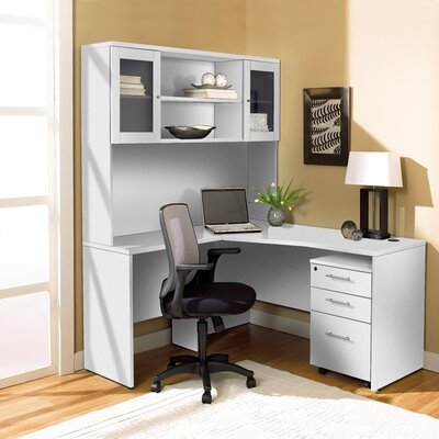 L-Shape Computer Desk with Hutch 1C100002LWH