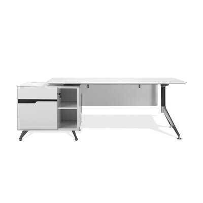 400 Collection Executive Desk Orientation: Left, Finish: White Lacquer Product Picture 130