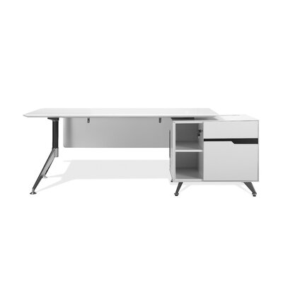 400 Collection Executive Desk Finish: White Lacquer, Orientation: Right Product Picture 130
