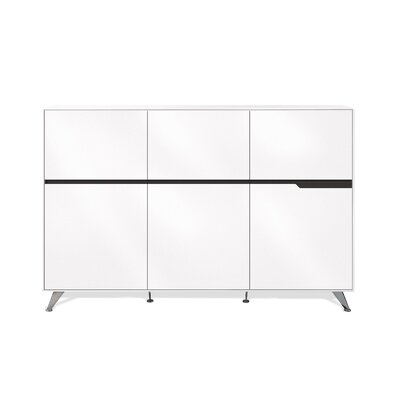 400 Collection 6 Door Storage Cabinet Finish: White Lacquer Product Image 7268