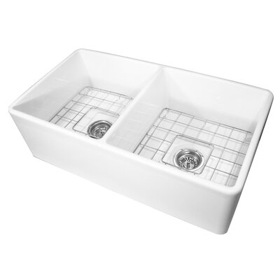 Cape 33 x 18 Double Basin Farmhouse/Apron Kitchen Sink