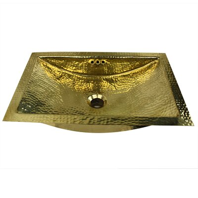 Brightwork Home Metal Rectangular Undermount Bathroom Sink with Overflow Sink Finish: Brass