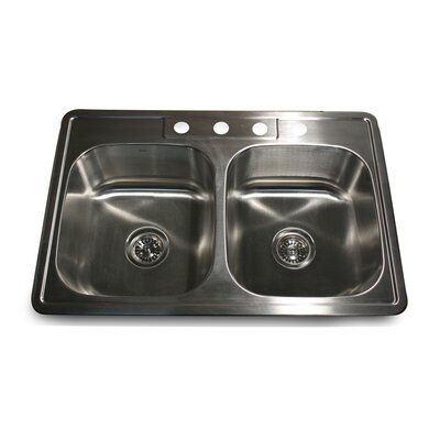 Madaket 33 x 22 50/50 Double Bowl Stainless Steel Kitchen Sink