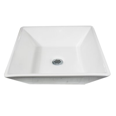 Brant Point Ceramic Square Vessel Bathroom Sink