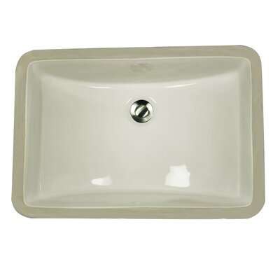 Great Point Vitreous China Rectangular Undermount Bathroom Sink with Overflow Sink Finish: Biscuit