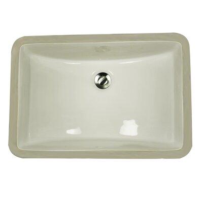 Great Point Ceramic Rectangular Undermount Bathroom Sink with Overflow Sink Finish: Biscuit