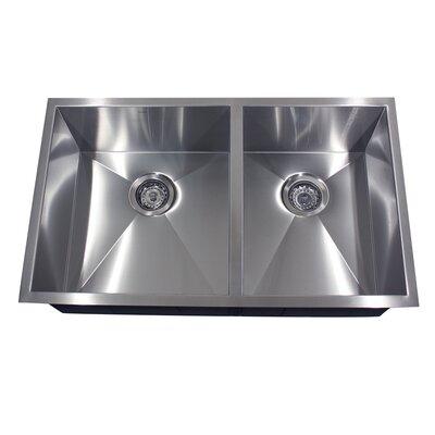 Pro Series 32 x 19 Double Offset Undermount Kitchen Sink