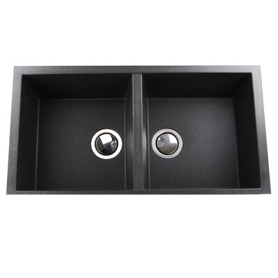 Plymouth 34 x 17.75 Double Basin Undermount Kitchen Sink with Basket Strainer Finish: Black