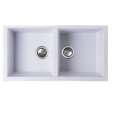Plymouth 34 x 17.75 Double Basin Undermount Kitchen Sink with Basket Strainer Finish: White