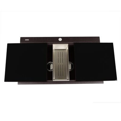 Plymouth 34 x 20 Double Basin Drop In Kitchen Sink with Drain Assembly Finish: Brown