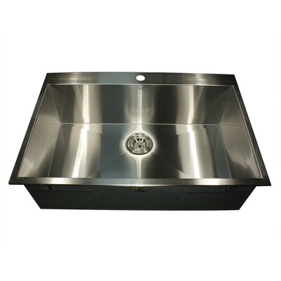 Pro Series 33 L x 22 W Rectangle Single Hole Topmount Stainless Steel Kitchen Sink