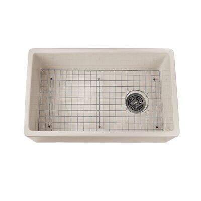 Cape 29.75 x 18 Fireclay Farmhouse Kitchen Sink Offset Drain with Grid Finish: Biscuit