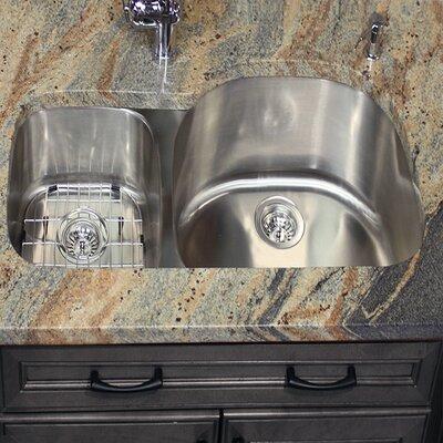 Sconset 31.5 x 20.75 Reversed Offset Double Bowl Undermount Kitchen Sink
