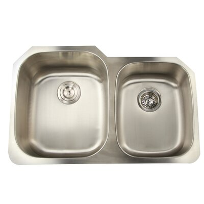 """Falmouth 31.63"""" x 20.75"""" 16 Gauge Stainless Double Bowl Kitchen Sink FM6040"""