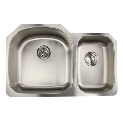 Falmouth 31.5 x 20.5 16 Gauge Stainless Double Bowl Kitchen Sink
