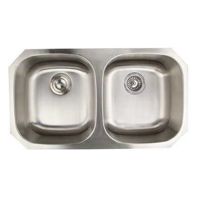 Falmouth 32.37 x 18.25 16 Gauge Stainless Double Bowl Kitchen Sink